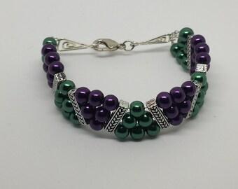 Purple and Green Wavy Bracelet