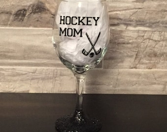 Sports mom wine glass- choose: hockey, football, baseball or volleyball