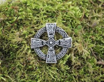 2 antique silver finish Celtic Cross