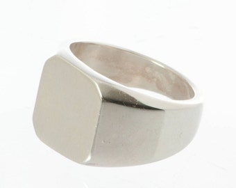 Custom Ring, Sterling Silver Ring, Square Ring, Heavy Ring, Large Size Ring, Signet Ring, Heavy Silver Ring, Big Finger Ring, Bikers Ring