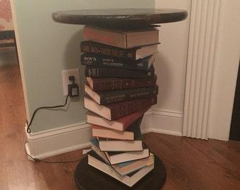 Custom end table built with books