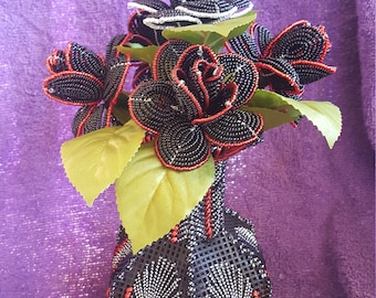 French Beaded Roses and Hand Made Vase(Red & Silver Tipped Black)