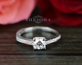 0.85 Ct Round Cut Engagement Wedding Ring with Accent Channel Set 14k White Gold Bridal
