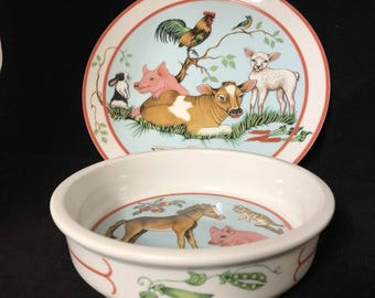 Lynn Chase Bowl Plate 2 Pc Set Barn Dance Porcelain Farm Animal Pig Cow Child 1997