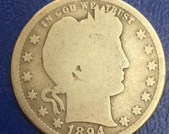 1894-S Barber Quarter, Liberty Head Quarter M368