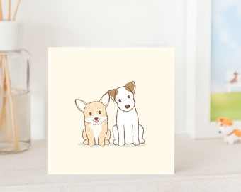 Dog Greeting Card - Cute Corgi and Jack Russell Terrier, Friendship Card, Dog Card, Dog Greeting card, All Occasion Card
