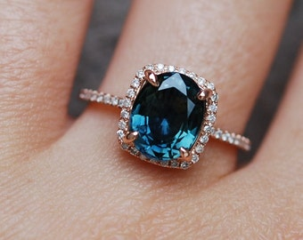 Blue Green sapphire engagement ring. Peacock sapphire 4.5ct cushion halo diamond  ring 14k Rose gold ring by Eidelprecious