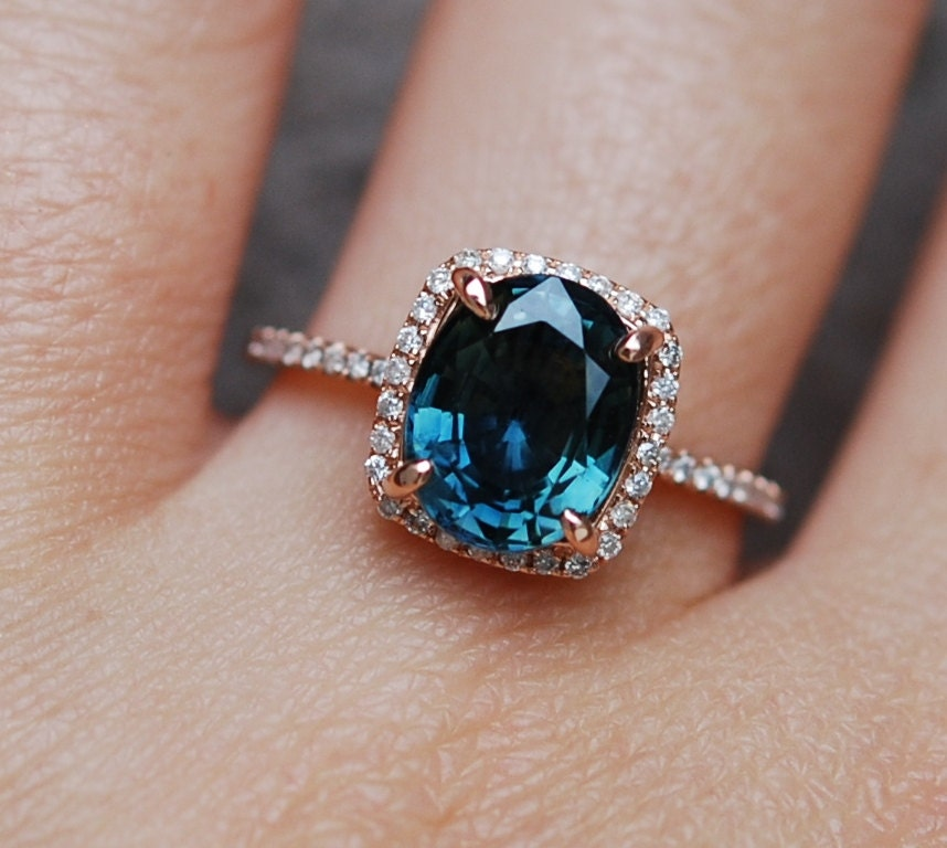 mount sapphire green dark carat rings ring engagement platinum vintage blue