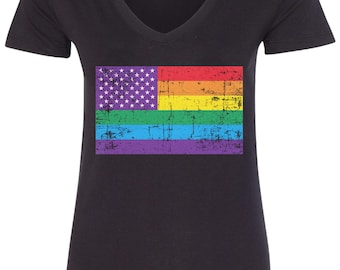 Gay Pride Rainbow American Flag #2 Women's V-Neck Fitted T-Shirt - TA_00413