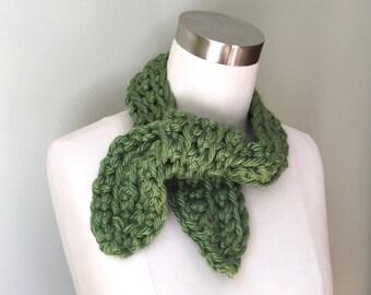 Neckerchief Scarf / Wrap Scarf / Crochet Scarf / Octopus Scarf / Greenery Scarf / Green Scarf