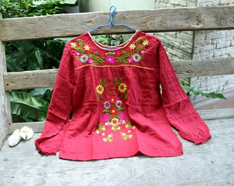 M-L Long Sleeves Bohemian Embroidered Top - Red Wine