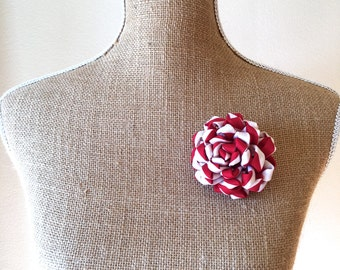 Upcycled Necktie Flower Fluffy Mum Brooch Corsage in Red & White/TGI Fridays Server OOAK Fabric Flower Pin/Upcycled Recycyled Repurposed