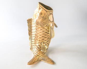 Vintage Solid Brass Koi Fish Sculpture Vase