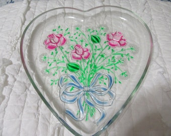 Serving Plate or Platter Heart Shaped  Hand Painted Pink Roses Kitchen Decor Dining Decor Home Decor Country Decor Cottage Chic Gift Idea