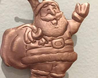 Handcrafted Pure Hammered Copper Santa Claus Ornament