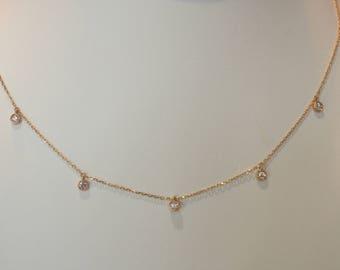 Handmade OOAK Dainty Gold Diamond Necklace