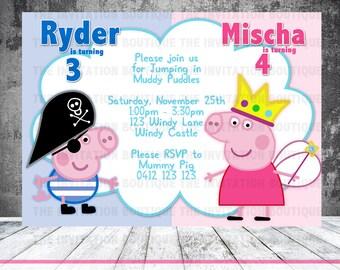 Peppa Pig AND George Pig Printable Invitation