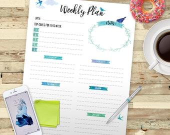 WEEKLY Planner Printable, Printable Weekly Schedule, Week Organizer, INSTANT DOWNLOAD