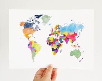 Map of the World - Watercolour Art Print - World Map Print - Watercolour Map Print - World Map Wall Art - Travel Wall Art - Travel Map