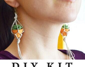 DIY Supply Kit - Plant Hanger Succulent Earrings - Micro Macrame - DIY Project Hanging Planter Miniature - Mini Planter
