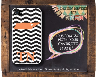 Tennessee iPhone Case, Personalized State Love iPhone Case, Fits iPhone 4, iPhone 4s, iPhone 5, iPhone 5s, iPhone 5c, iPhone 6