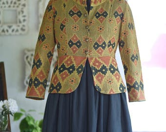 Medium ~ Erica Jong, Vintage kantha Hand Crafted Cotton short Jacket in mustard yellow