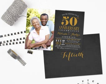 ANY YEARS - 50th Anniversary Invitation Photo Anniversary Invite Black and Gold Golden 50th Wedding Anniversary Invite // No.631