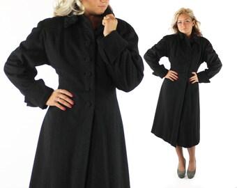 Vintage 50s Wool Coat Princess Cut Black Persian Lamb Nipped Wasp Waist 1950s Medium M Winter Pea Coat
