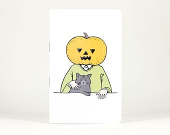 "Pocket Notebook - Pumpkinhead & Cat - 32 Blank Pages - 5.5"" x 3.5"""
