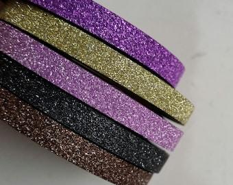 Skinny glitter washi tape roll - 5mm glitter washi - Purple washi - Gold washi - Pink washi - Black washi - Brown washi - Washi tape rolls