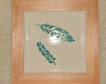 Trivet, Tile, Wood, Feathers, Birch, Wall Hanging, Home Decor, Kitchen, Turquoise, Off White
