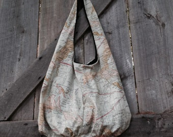 Map hobo bag