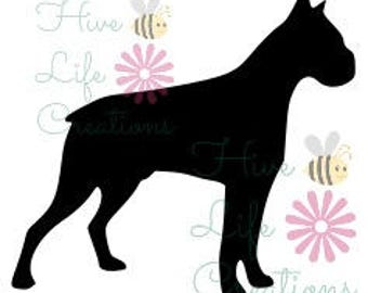 boxer dog silhouette etsy rh etsy com boxer dog clipart black and white boxer dog clipart images