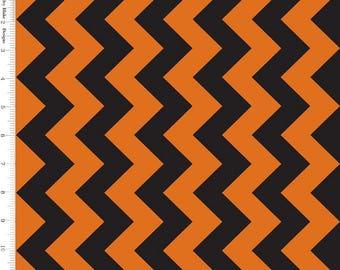"Riley Blake ""Medium Chevron"" Orange & Black Quilt Fabric By-the-HALF-yard, 2"" point to point Halloween Zig-Zag"