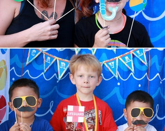 Pool Swim Party Printable PHOTO BOOTH PROPS - Editable Text >> Instant Download   Paper and Cake