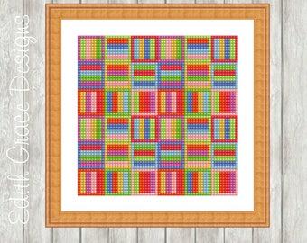 Needlepoint Pattern - Geometric Art - Tapestry Pattern - Counted Chart Pattern - Modern Art - Embroidery Design - Geometric Pattern