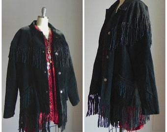 1980's black suede, fringe western jacket, men's size large