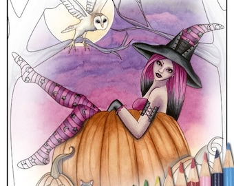 Digital Stamp - Printable Coloring Page - Fantasy Art - Witch Stamp - Zoe Version 2 - by Nikki Burnette - PERSONAL USE