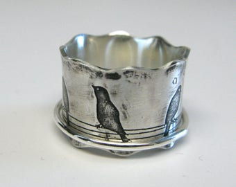 Birds on a Wire Sterling Silver Spinner Ring Size 5 1/2 Ready to Ship