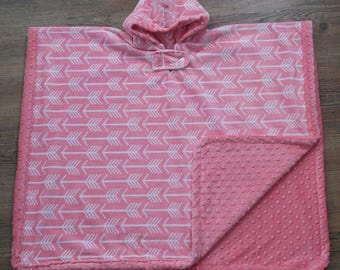 Hooded Car Seat Poncho - Archer Arrow - Coral