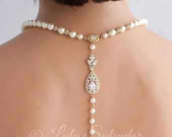 Gold Backdrop Necklace Wedding Jewelry Pearl Back Drop Bridal Necklace Pearl Wedding Necklace Crystal Wedding Jewelry for Brides VIVIENNE