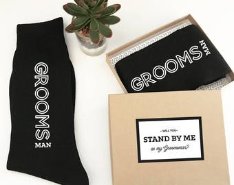 Will you be my Groomsman Socks Unique Groomsmen Proposal Gift Ideas Stand by Me Groomsmen Proposal Socks Groomsman Proposal Gift (EB3258GM)