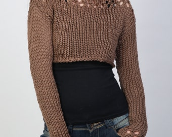 Hand knit sweater Little shrugcover up top Cropped top coffee