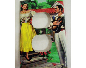 Retro Mexico switch plate vintage senorita 1950's  pin up  kitsch decor outlet light switch