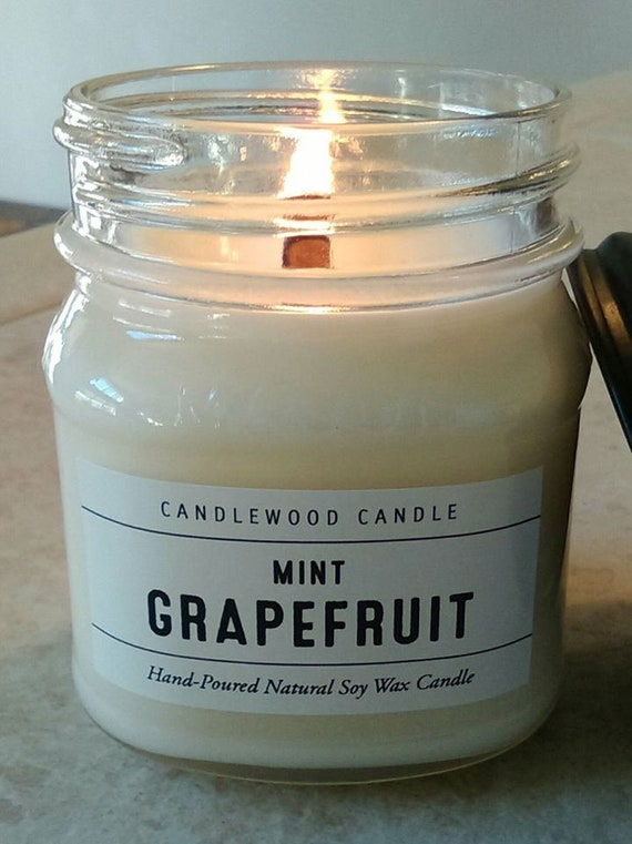 Mint Grapefruit - Limited Edition - Apothecary Mason Jar Candles - Natural Soy Wax + Wood Wick 9 oz with Black Lid