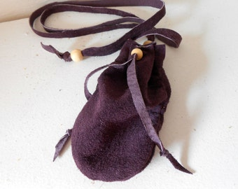 Amulet Bag, Medicine Pouch, Purple Leather Drawstring Pouch, Handmade, Hippie, Boho, Gypsy, Custom Made to Order