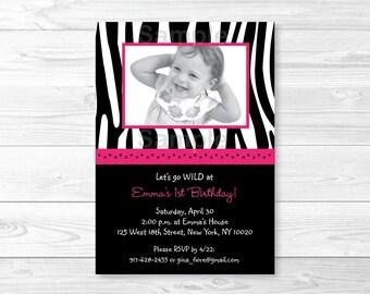 Pink Zebra Print Birthday Invitation / Zebra Stripe Birthday Invite / Hot Pink & Black / First Birthaday / Second Birthday / PRINTABLE A232
