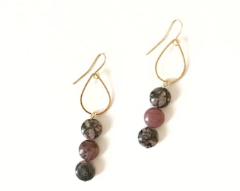 Rhodonite earrings- drop earrings- gold plated earrings earrings- statement earrings-