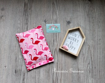 Heating pad with organic flaxseed, cotton pink flamingos on order