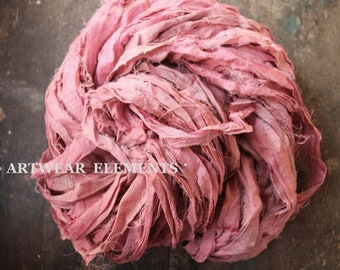 Pure Sari Silk, Pink Couture Blush, Per Yard, Recycled Sari Silk, Fair Trade, Fabric, Ribbon, Yarn, Silk, ArtWear Elements, 304